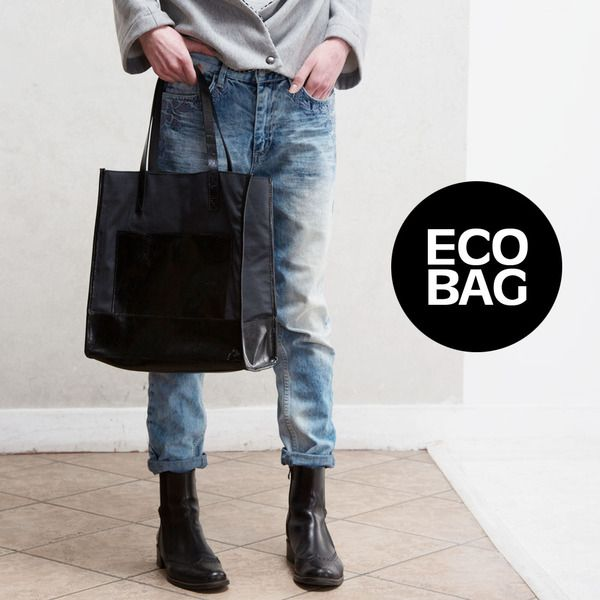 Leather Shouledr Bag Hobo Eco Shopper BLACK von CADO accessories auf DaWanda.com