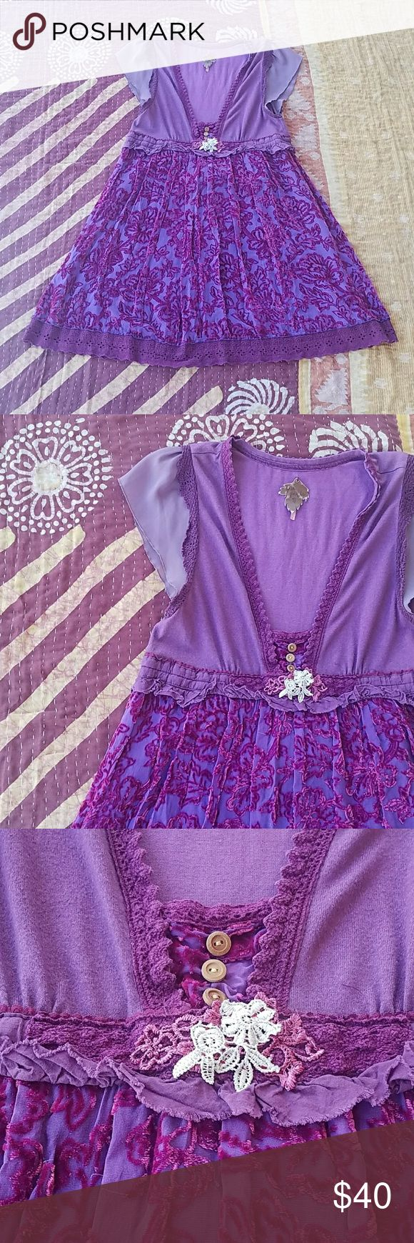 Free People Purple Floral Velvet Festival Dress 8 Burnout velvet dress in floral print  Soft jersey cotton bodice Sheer cap sleeves Ruffle trim with crochet and button details at bustline Crochet trim hem on a-line skirt Made by Free People, Size 8 Some slight fuzziness on cotton but is very minimal In otherwise good condition Free People Dresses Mini