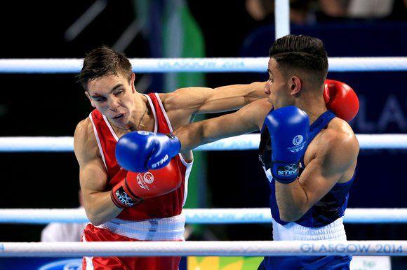 Qais Ashfaq in the Glasgow Commonwealth 2014 56 kg Bantamweight Finals against the World No 2 Michael Conlan ......