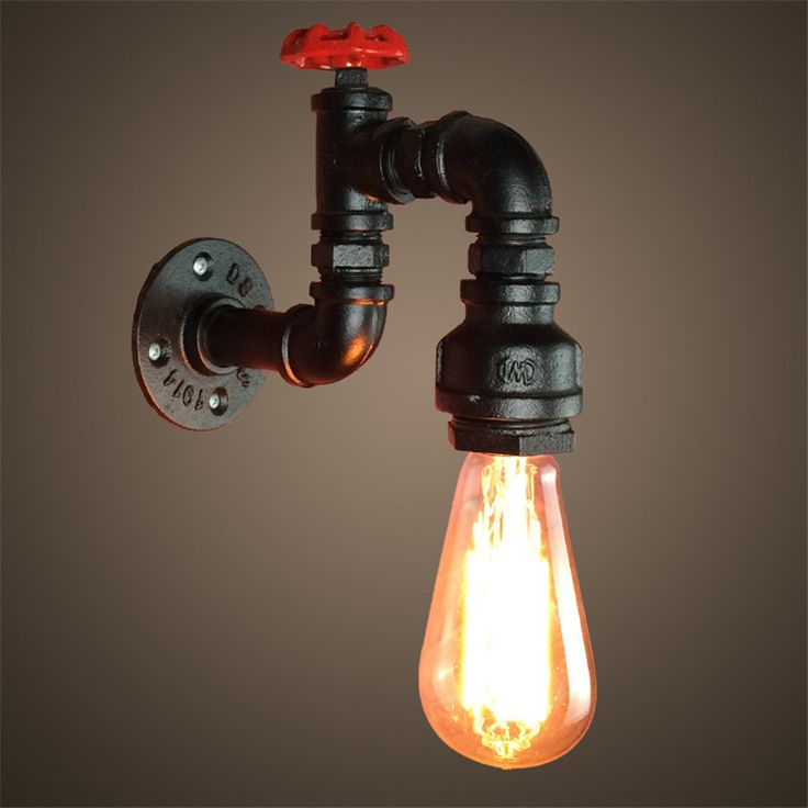 Loft retro industrial wind bar coffee shop creative American restaurant iron staircase wall lamp decorative water pipe wall lamp