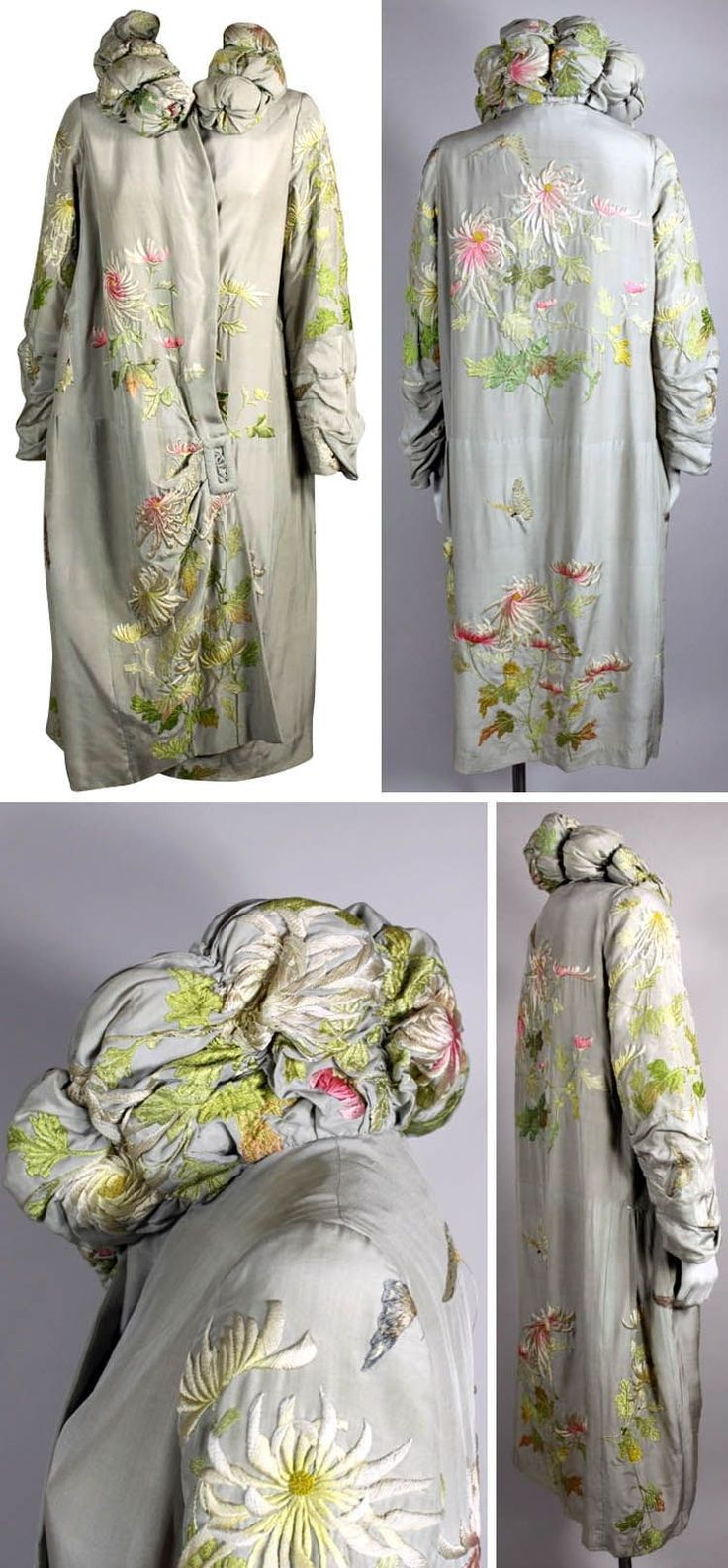 Opera coat ca. 1920s. Dove gray silk with Japanese-style hand embroidery. Padded and tufted standup collar, asymmetrical side closure with faux buckle. The Way We Wore/1st Dibs