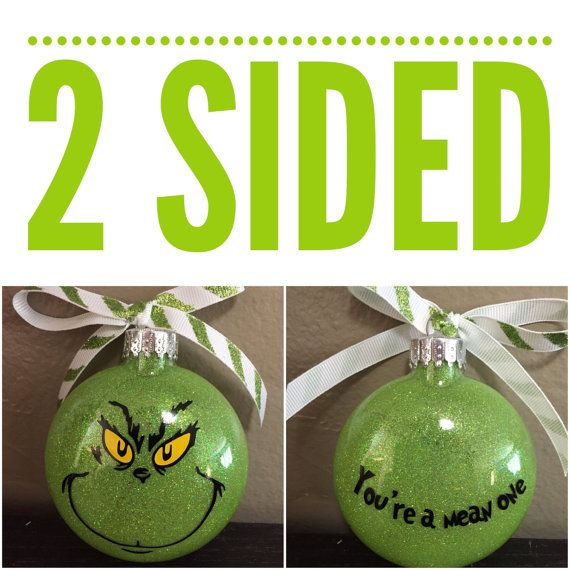 Grinch Ornament The Grinch Ornament 2 sided How by HollyJollyWorks