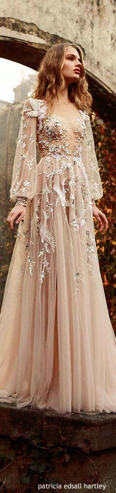 Paolo Sebastian ~ Nude Chiffon Gown w Cascading Floral Applique 2015-16