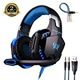 #10: Gaming Headset with Microphone for PS4 Bass Stereo Noise Isolation Over-ear [ One Key Mute ] Professional Headphone [ with Mic / LED Light / HiFi Driver ] for PC PS4 Pro Xbox One S [ 3.5mm & USB port with Headset Adapter ] #movers #shakers #amazon #electronics #photo