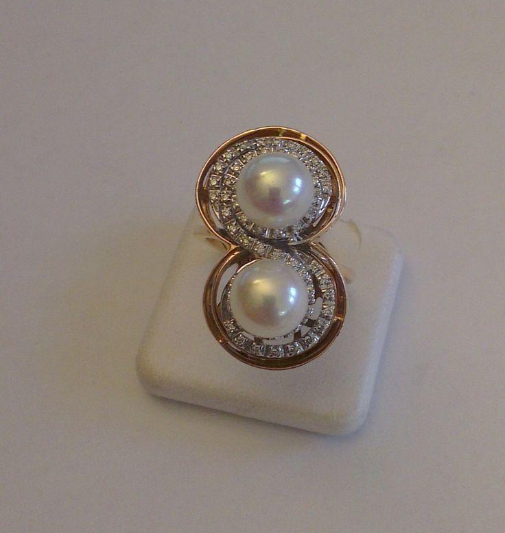 Anello in Oro Rosa e Bianco con Perle e Diamanti taglio Brillante