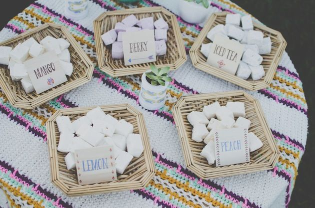 Flavored marshmallows. Make s'mores even more interesting! Retro Glamping Bachelorette Party Ideas by Stockroom Vintage