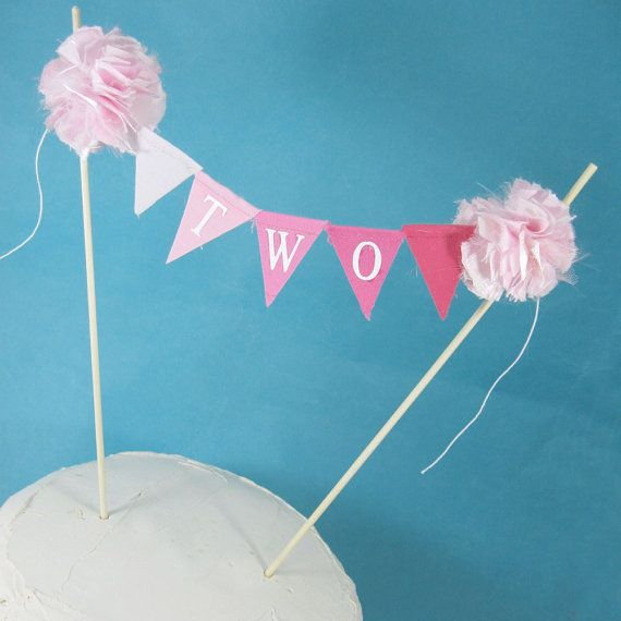 Cake banner smash cake  pink ombre birthday by Hartranftdesign, $25.00