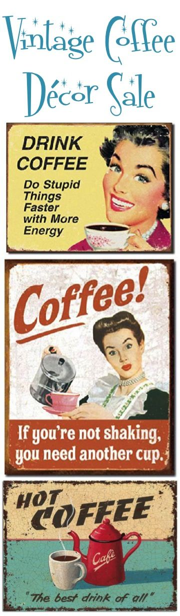 Vintage Coffee Decor Sale!  So many fun gifts for coffee lovers and Coffee Kitchen Decor theme ideas!