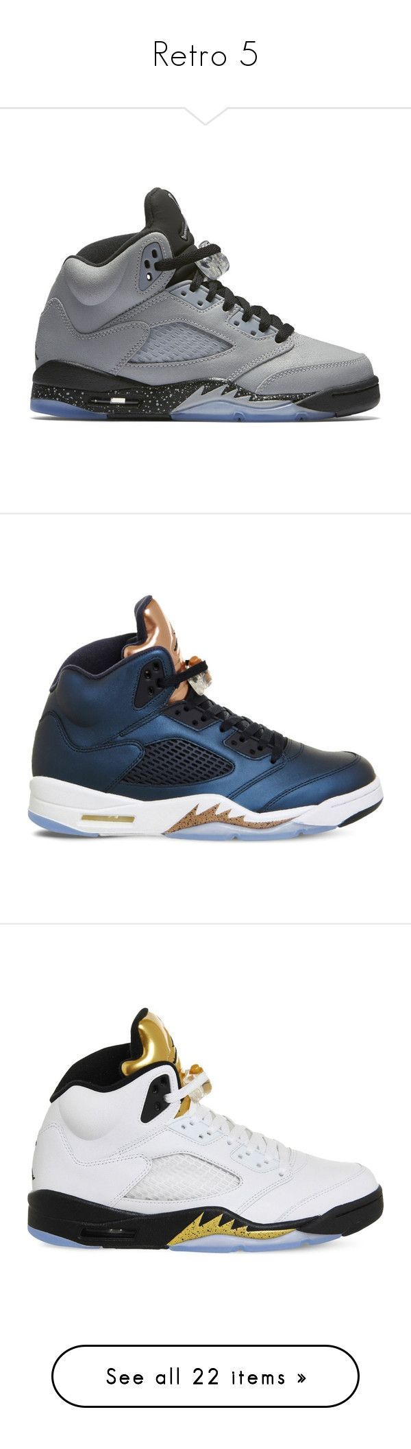 """""""Retro 5"""" by therealporshamarie ❤ liked on Polyvore featuring shoes, jordans, men's fashion, men's shoes, men's athletic shoes, blue, nike mens athletic shoes, mens low top basketball shoes, mens blue shoes and mens blue basketball shoes"""
