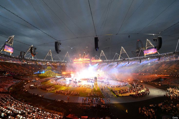 Opening CeremonyThe five Olympic rings rise above a scene depicting the era of the Industrial Revolution during the Opening Ceremony of the London 2012 Olympic Games at the Olympic Stadium on July 27, 2012 in London, England.