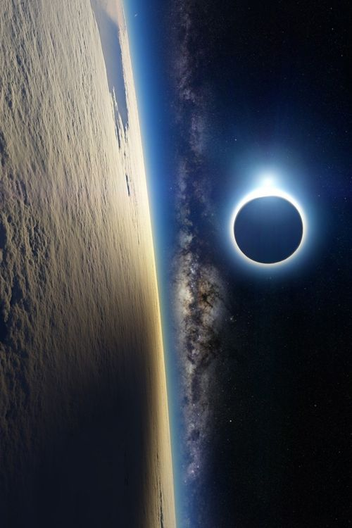 Earth, The Milky Way, the sun being eclipsed by the moon.