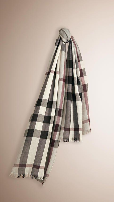 Cinza médio Cachecol leve de lã e cashmere com padrão xadrez -  BURBERRY