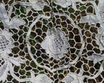 Merletto veneziano arte vittoriana a mano antico 1930 francese pizzo centrino centro tavola Rose floreale Centrino cotone #sophieladydeparis