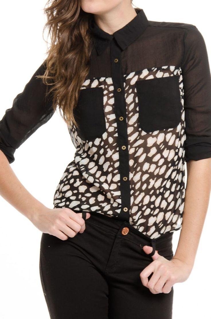 Camisa+Combinada+-+Negro en DeluxeBuys!