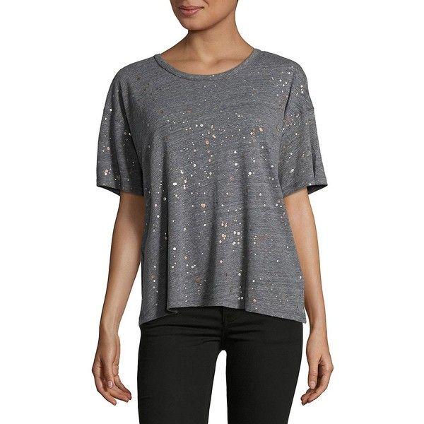 Splendid Women's Polka Dot Tee ($43) ❤ liked on Polyvore featuring tops, t-shirts, heather grey, polka dot top, splatter tee, print top, short sleeve t shirt and polka dot t shirt