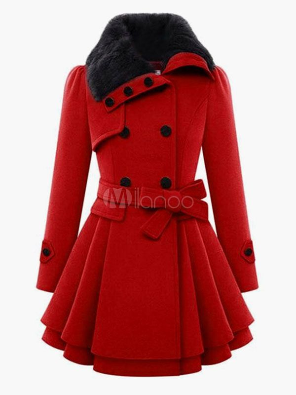 Sash Double-Breasted Coat For Woman - Milanoo.com