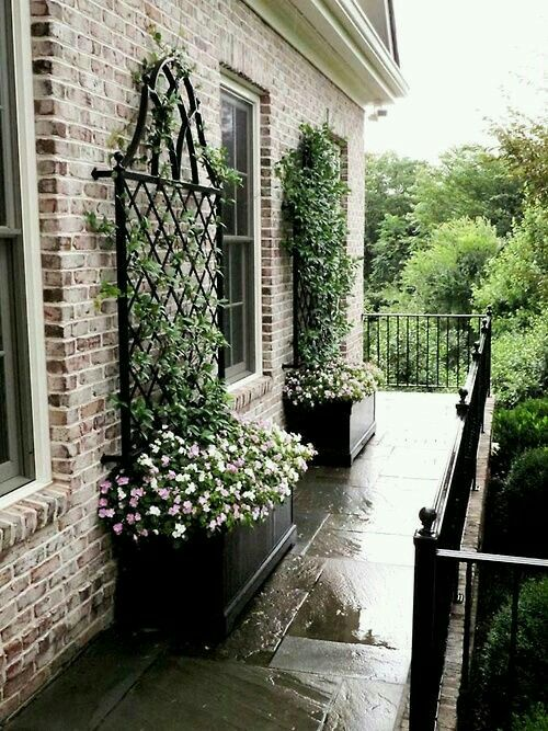 Co Co's Collection : Formal garden # structure # roses # boxwood Planter boxes enhance this otherwise plain wall