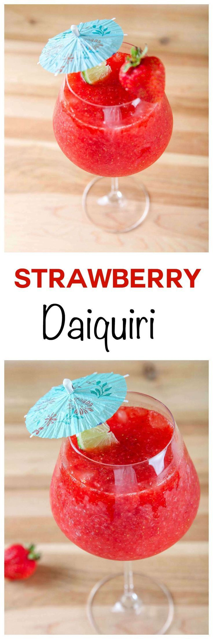 Easy Strawberry Daiquiri: Frosty, sweet, and refreshing cocktail that couldn't be easier to make. Requires only THREE common ingredients and tastes like an adult slushie! #ad