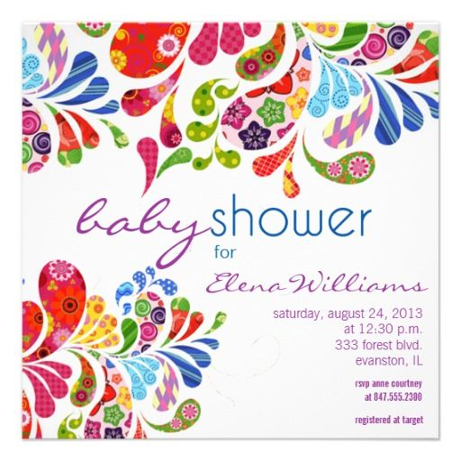 colorful paisley baby shower invitation @Heather Creswell Cummings