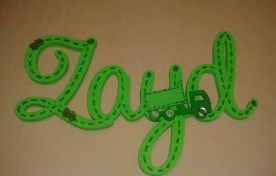 Green truck and car theme wooden cursive name with hand painted stitch detail