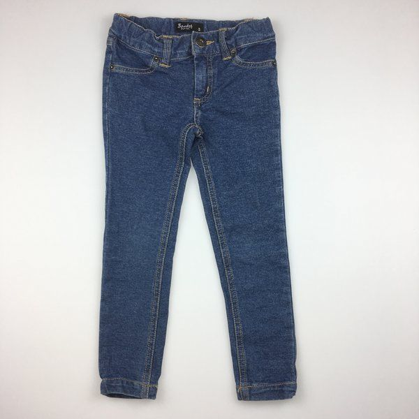 Bardot Junior, denim jeggings with adjustable waist, good pre-loved condition (GUC), girl's size 3, $12 #girlsfashion #kidsfashion #bardotjunior #preloved #daisychainclothing
