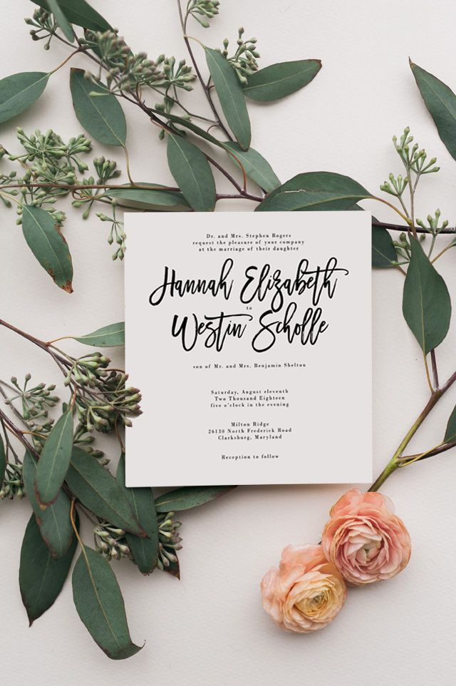 Custom Whimsical Wedding Invitation With Modern Calligraphy By Unica Forma