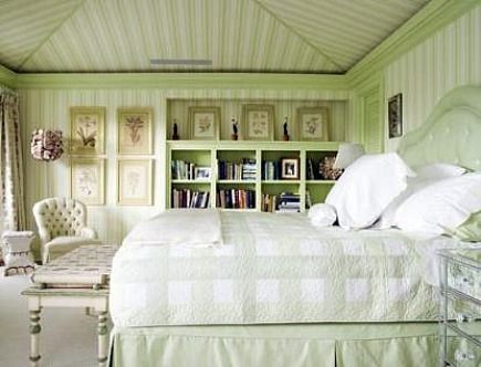 Appropriately Celery Green Bedroom By Celerie Kemble. Adore The Striped  Wall Paper That Extends Up The Vaulted Ceiling To Create A Tented Effect.