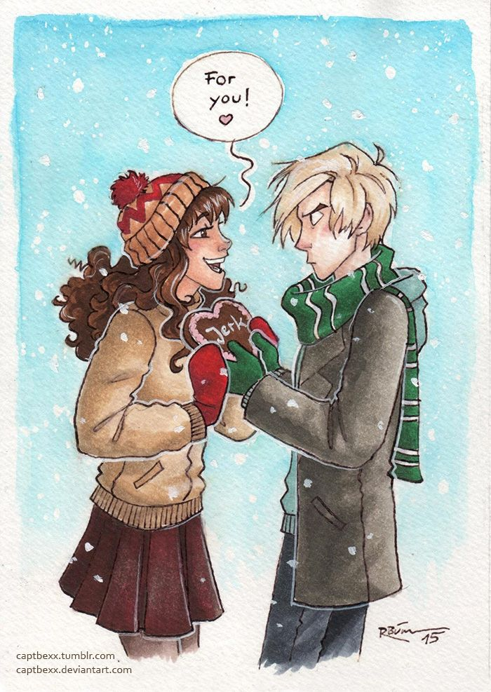 "It's finally getting warmer and I'm uploading a winterly Dramione picture… -_-My sister and I bought each other gingerbread hearts last winter which said ""bastard"", so...<< LOL"