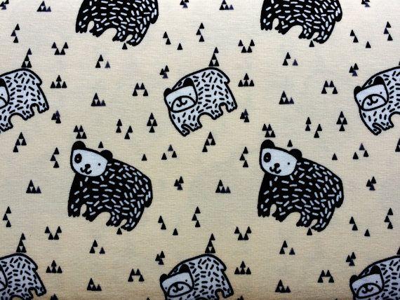 Beige Bears Cotton Jersey fabric / price per half meter
