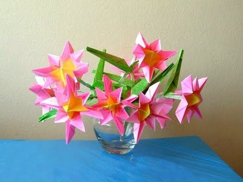 Bouquet of Pink Origami Flowers - YouTube