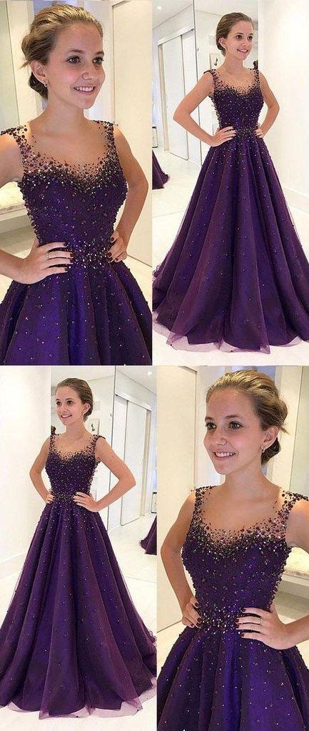 b0352f22df54 dark purple A-line beaded long prom dress for girls