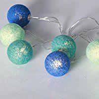 LED Lichterkette 'Cotton Balls' 10 Lichter mit Batteriebetrieb & Timer , Auswahl:blau