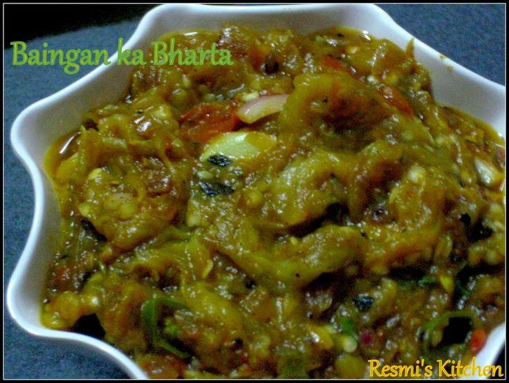 Resmi's kitchen: BAINGAN KA BARTA / ROASTED EGGPLANT CURRY