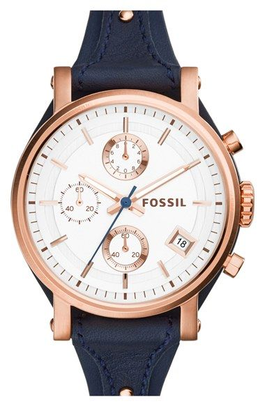 Fossil 'Original Boyfriend' Chronograph Leather Strap Watch, 38mm (Nordstrom Exclusive) available at #Nordstrom