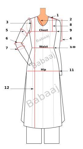 Measurement Guide for Custom Kameez (front)