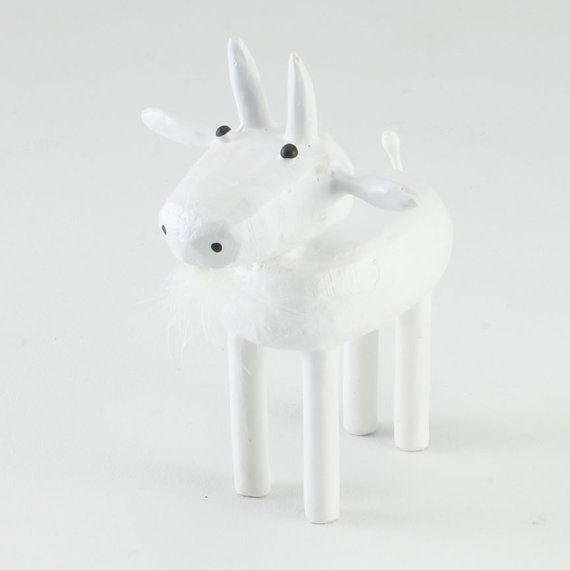 Like goats? I made this simple little goat figure to cheer up any goat appreciator. Ive sold the original goat pictured here, but can make you a very very similar one in about one to two weeks. Maybe youll get lucky and I have one ready to ship. Who knows? This figure is made from