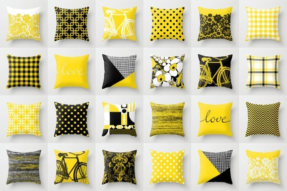 Black White Yellow Throw Pillow Mix And Match Indoor Outdoor