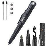 Tactical Pen Self Defense Tool for Survival Military & Police Grade Badass EDC - Tactical Flashlight + Glass Breaker + Ballpoint Pen + Multi Tool - 2 Ink Cartridges & 3 Batteries - Gift Boxed