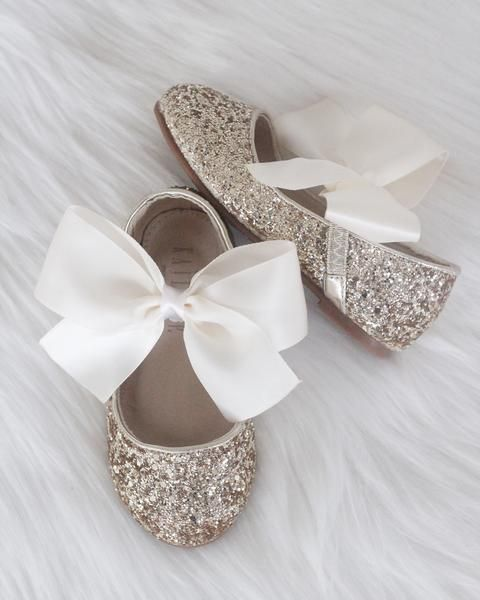 a31bfeea660b5 GOLD Rock Glitter Maryjane Flats With IVORY Satin Bow in 2019 ...
