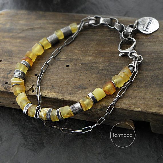 Sterling silver and amber bracelet   chain by studioformood