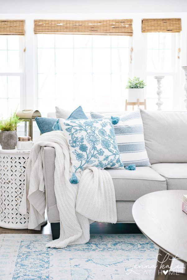 Spring Living Room Decorating Ideas This Chambray Blue And White Color Palette Is Beautiful Spring Living Room Decor Spring Living Room Farm House Living Room