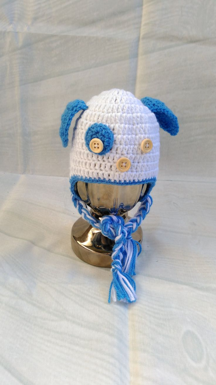 Crochet Puppy Beanie, White And Blue Boys Beanie, Crochet For Baby, Puppy Hat, Boys Hat, Baby Beanie, Photo prop, Cute Little Hat, Puppy by PPbabyboutique on Etsy