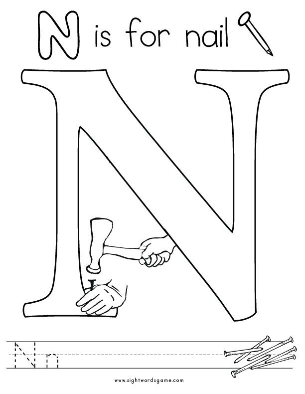 Alphabet Coloring Pages N : Letter n coloring page letters of the alphabet