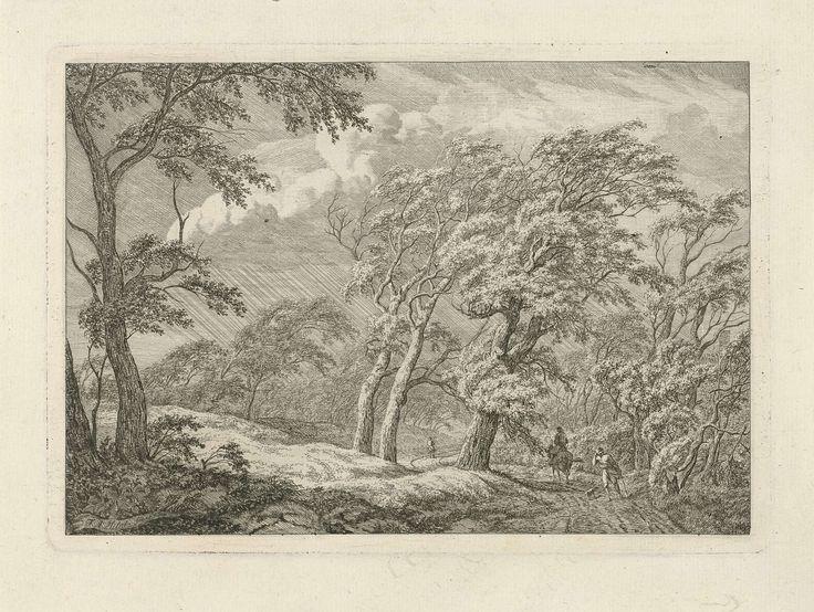 Franciscus Andreas Milatz | Landschap met storm en regen, Franciscus Andreas Milatz, 1784 - 1808 | Een duinlandschap met door de storm gebogen bomen en regen. Rechts een ruiter en een man met een hond op de weg.