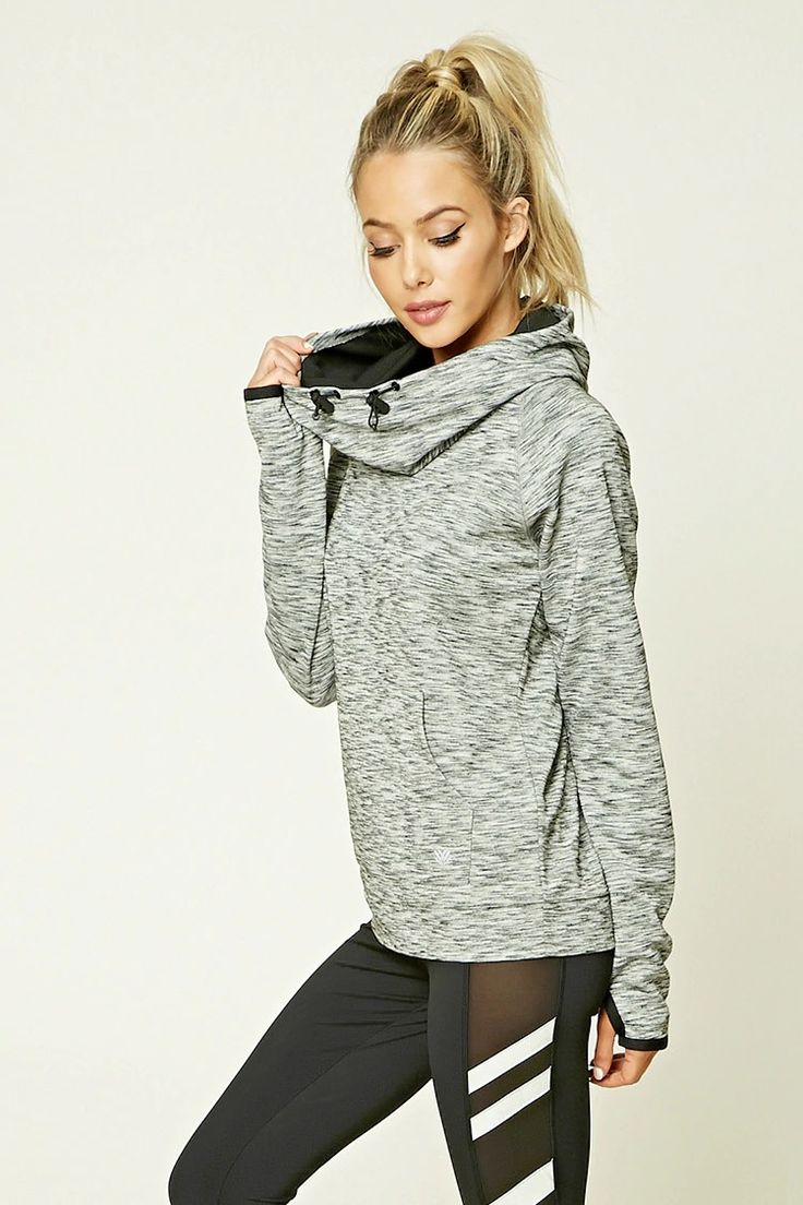 A lightweight marled knit athletic hoodie featuring a cowl neck, drawstrings, and long raglan sleeves with thumb inserts.