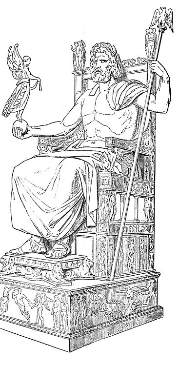 The throne of the Statue of Zeus at Olympia was 22 feet wide and made from cedarwood, inlaid with precious stones. Zeus himself was made from a wooden frame that was covered with pieces of ivory and bronze. The god's skin was polished ivory, his hair, beard, robes, and sandals gold. In his right hand he held a life-size statue of Nike, the goddess of victory, while in his left was an eagle-headed scepter.