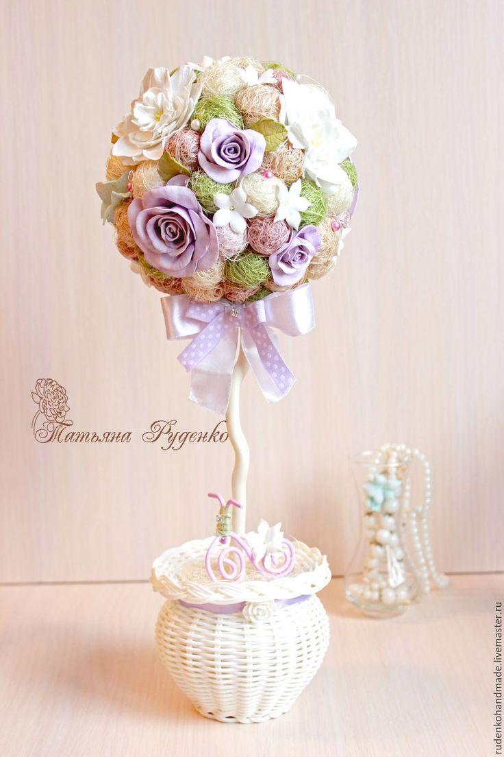Купить Топиарий в стиле Прованс - сиреневый, прованс, топиарий в стиле прованс, цветы из фоамирана