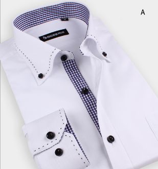 Classic Top Quality Men's White Button Down Shirt with Side Stitching