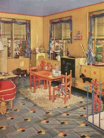 1940s playroom with vintage armstrong linoleum floor style 5651