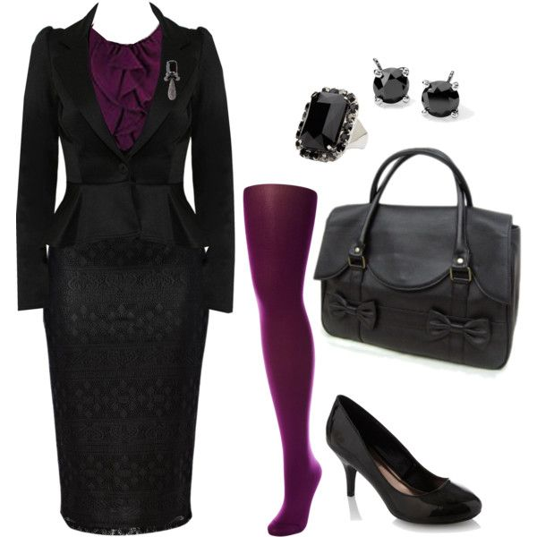 Purple Corp Goth outfit.